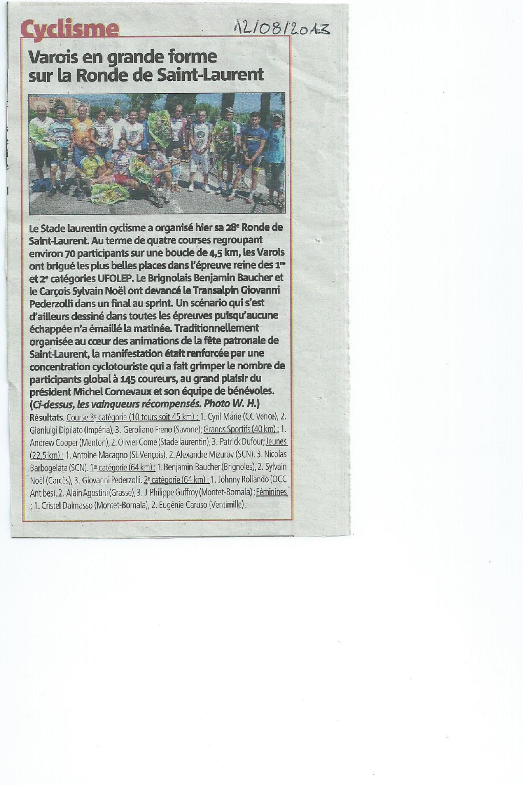 Ronde de la Saint-Laurent 2013 - article Nice-Matin 12 08 2013
